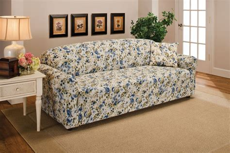 floral sofa slipcover blue floral flower jersey sofa stretch slipcover
