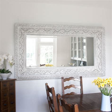 large shabby chic mirror white two metre large shabby chic whitewashed mirror by