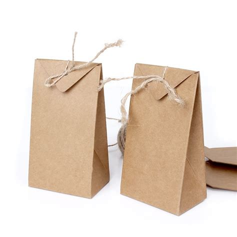 brown craft paper bag thick brown kraft paper folding gift pouch bag lace up
