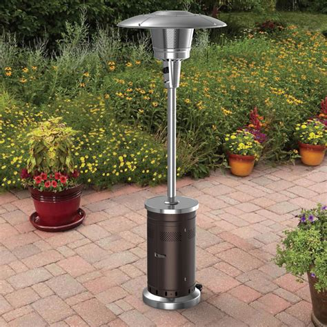 propane patio heater lowes shop garden treasures 47 000 btu mocha steel floorstanding