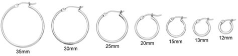 12mm actual size new 2mm 14k white gold hoop earrings your size
