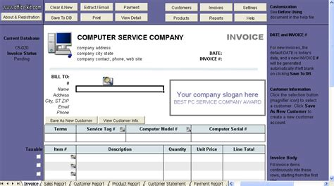 computer service invoice template uniform invoice software