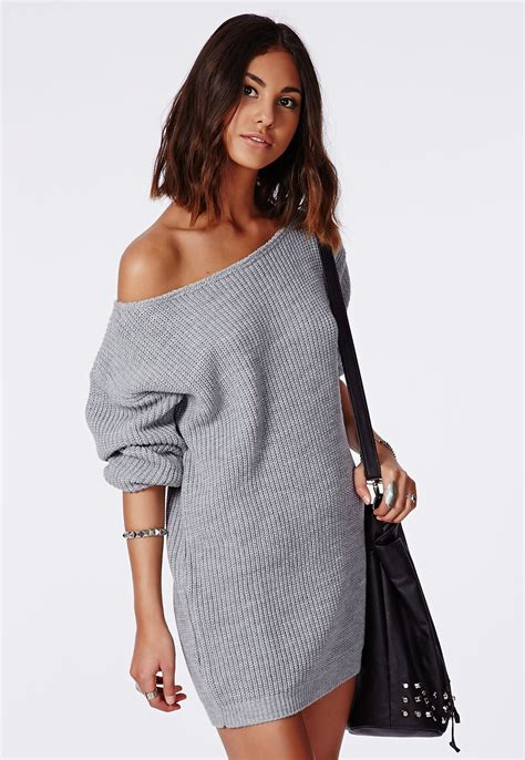 knitted sweater dress ayvan shoulder knitted sweater dress grey dresses