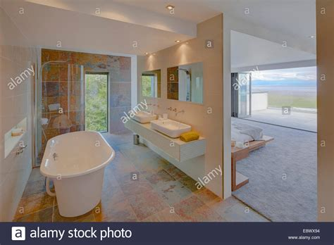 modern ensuite bathrooms modern ensuite bathroom separated from bedroom by