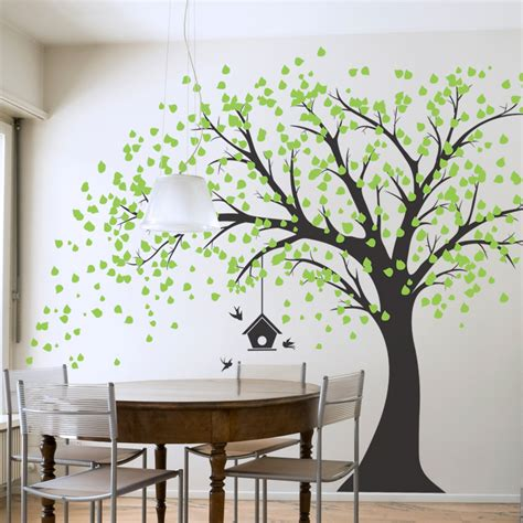 photo tree wall sticker large windy tree with birdhouse wall decal