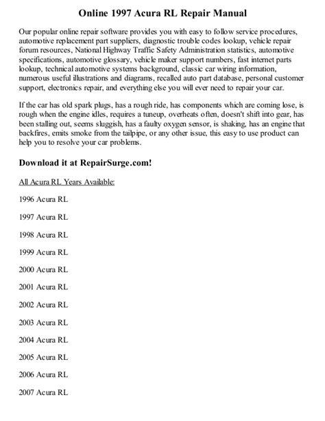 online repair manual for a 2000 acura rl download 2006 acura rl owner s manual zofti free 1997 acura rl repair manual online