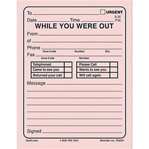 while you were out quill 174 while you were out pads 50 sheets per pad 5 1