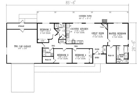 4 bedroom ranch floor plans ranch style house plan 4 beds 2 00 baths 1720 sq ft plan 1 350