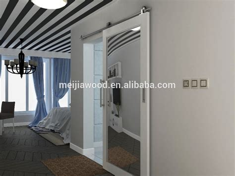 mirrored barn door wooden barn door with mirrored sliding door design with