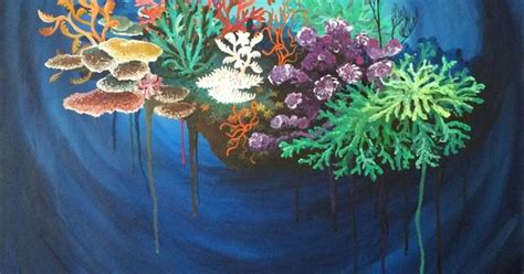 acrylic painting underwater original acrylic canvas painting by downs coral