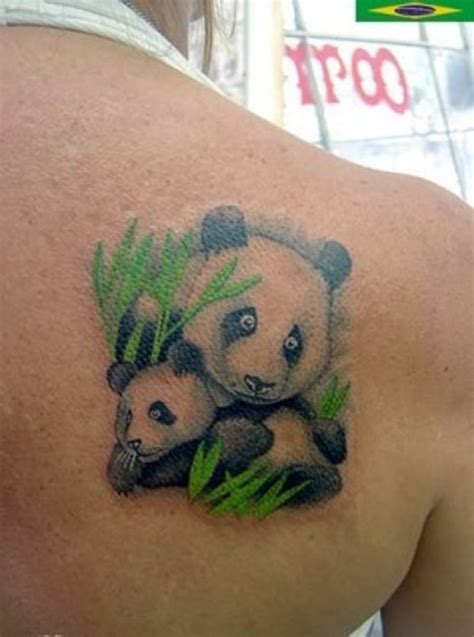 picture of unique mother panda and baby panda tattoo