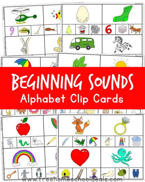beginning card free beginning sounds alphabet clip cards free