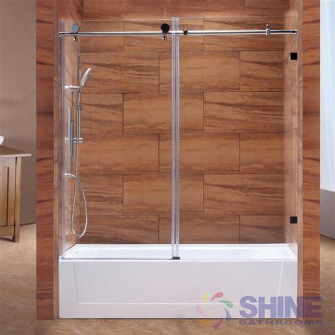 tub shower doors frameless sd frameless sliding tub door shine bathrooms