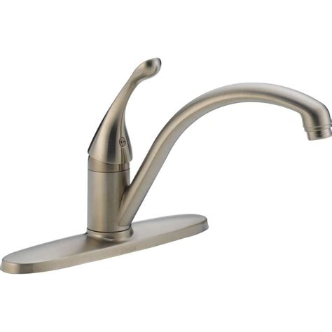 delta kitchen faucets home depot delta collins lever single handle kitchen faucet in stainless steel water efficient 140 sswe dst