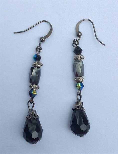 beaded dangle earrings hematite black beaded dangle earrings teardrop beaded