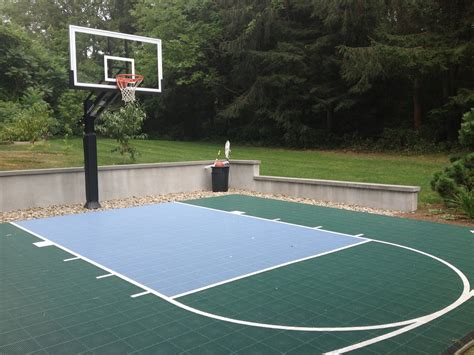 basketball half court dimensions backyard backyard half court with a hill