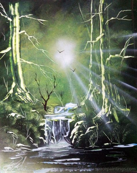 spray paint emerald forest space painting lectrics