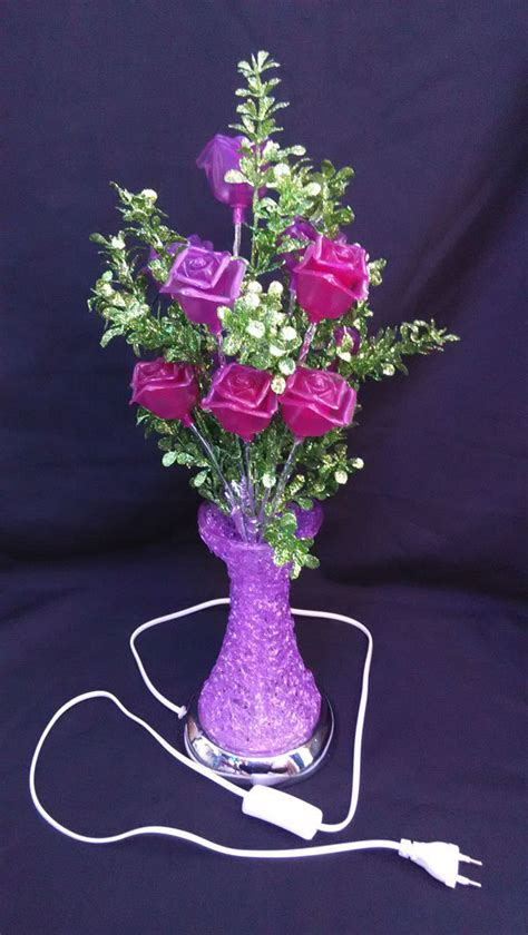 lights in a vase artificial flower led flower vase light purple color