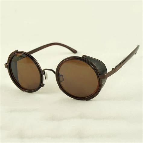 with glasses bronze steunk glasses brown lenses side shields