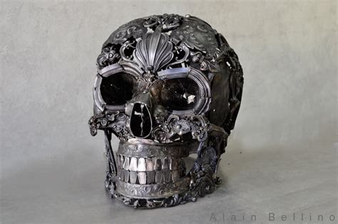 metal skull amazing metal sculptures made from reclaimed bronze ornaments