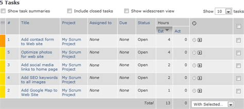 managing scrum backlogs with online tools intervals task