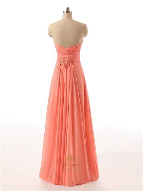 beaded chiffon dress coral strapless beaded sweetheart neckline ruched bodice