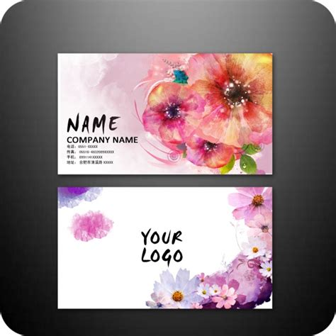 flower templates for card colorful flower business card design psd free vector