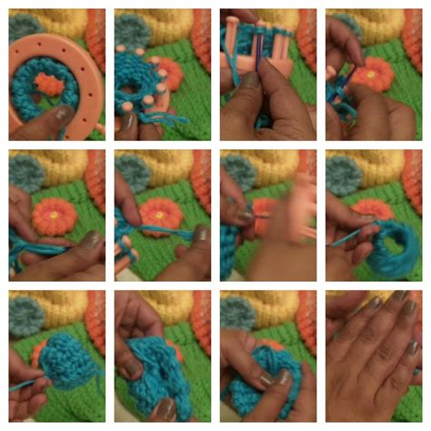 how to knit a flower on a loom loomflowercollage3 loomahat