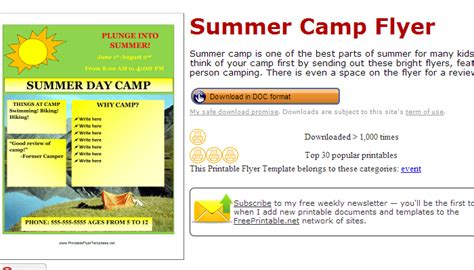 free printable flyers 5 summer c flyer templates af templates