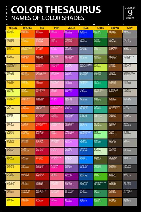 color shades names poster graf1x