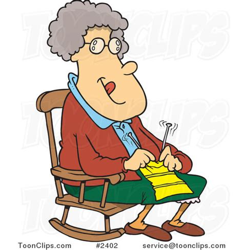 cartoon granny knitting in a rocking chair 2402 by ron
