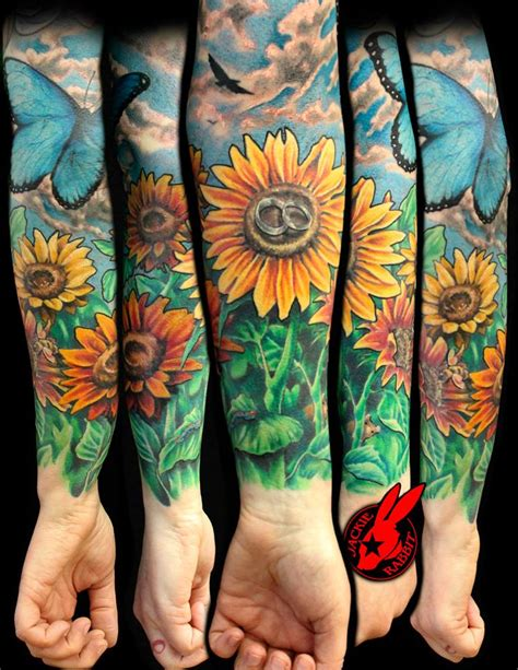 flower garden tattoos sunflower sleeve best home decorating ideas