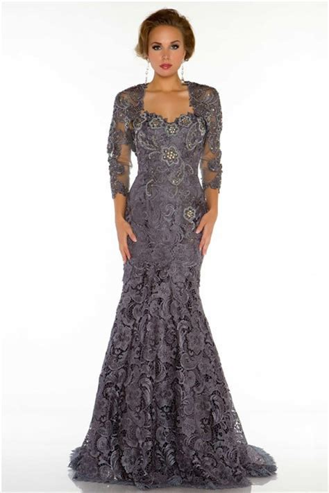 beaded evening dresses formal mermaid sweetheart charcoal grey lace beaded