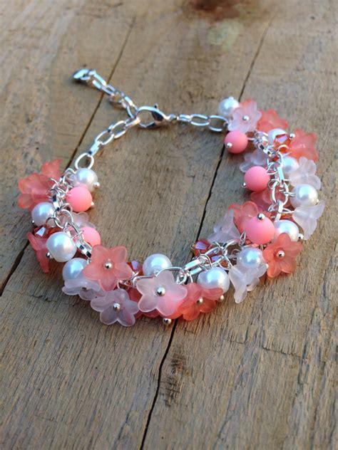 how to make lucite jewelry flower charm bracelet lucite flower bead bracelet pink