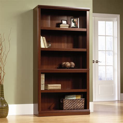 sauder bookcase 5 shelf sauder select cherry 5 shelf bookcase 412835