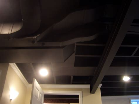 spray painting unfinished basement ceiling cool home creations finishing basement black ceiling