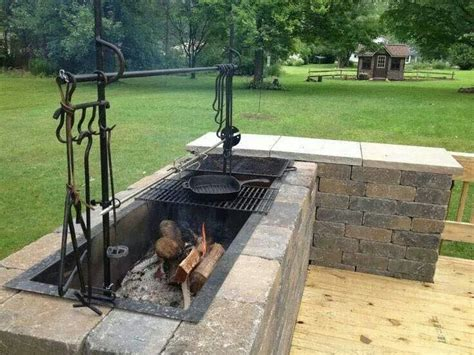 backyard and grill built in pit wood charcoal etc cook on grill