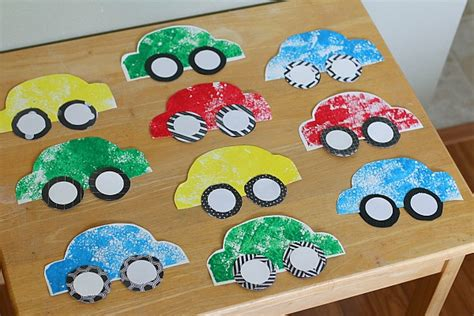 car craft for paper car craft for using sponge painting buggy and