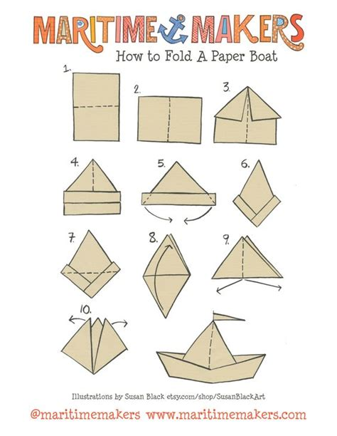 origami boat printable maritime makers how to fold a paper boat printable