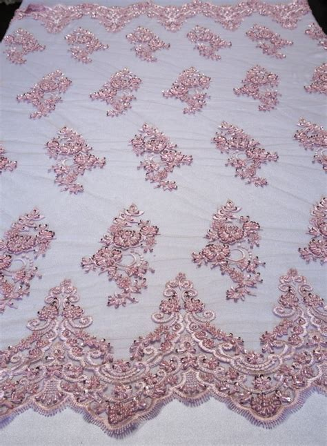 beaded fabrics by the yard pink floral mesh w embroidery beaded lace fabric