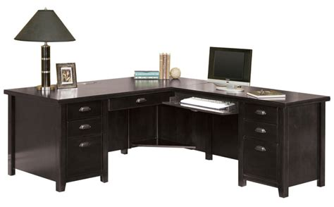 right l shaped desk tribeca loft black office furniture pedestal