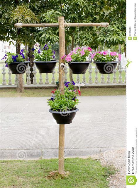 support en bois avec des pots de fleurs photo stock image 50817656