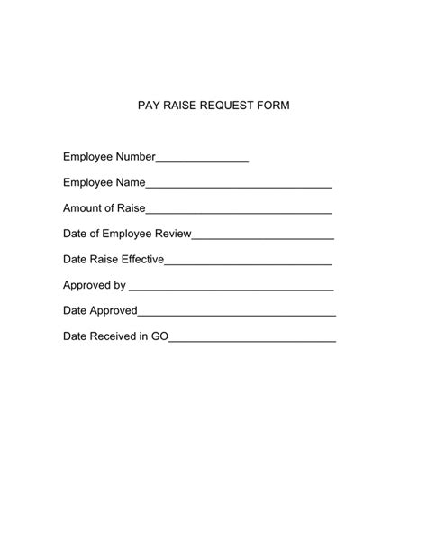 pay raise request form in word and pdf formats