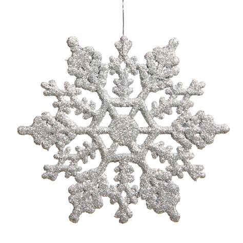 silver glitter snowflake ornaments 6 25 inch artificial glitter snowflake ornament set of 12
