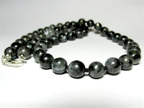 mens beaded necklace mens larvikite necklace mens beaded necklace gemstone