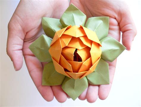 origami lotus blossom origami lotus flower decoration or favor gold and moss