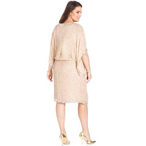 plus size beaded dress patra plus size kimonosleeve beaded dress in pink lyst