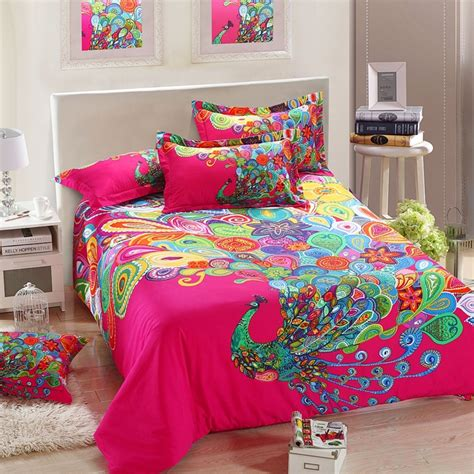 home goods bedding sets quality 3d new design peacock quilt cover 100 cotton
