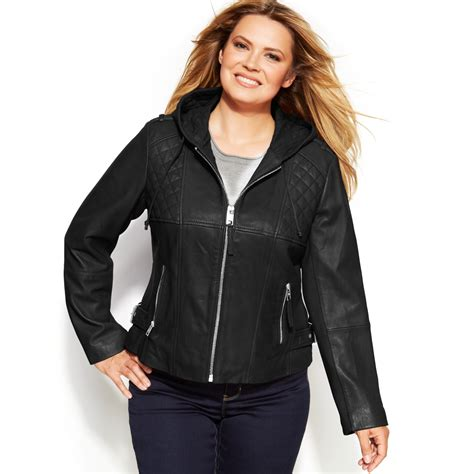 plus size leather jackets for michael kors michael plus size knitinset hooded leather
