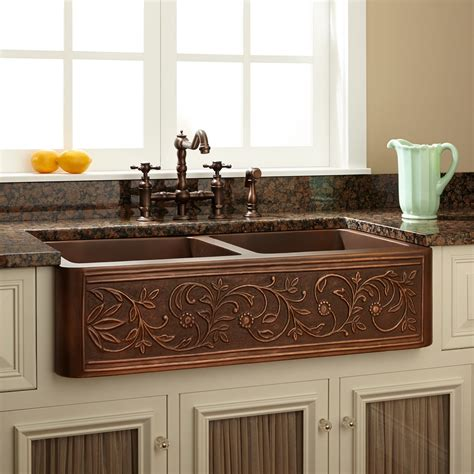 farmhouse copper kitchen sink 36 quot vine design bowl copper farmhouse sink kitchen